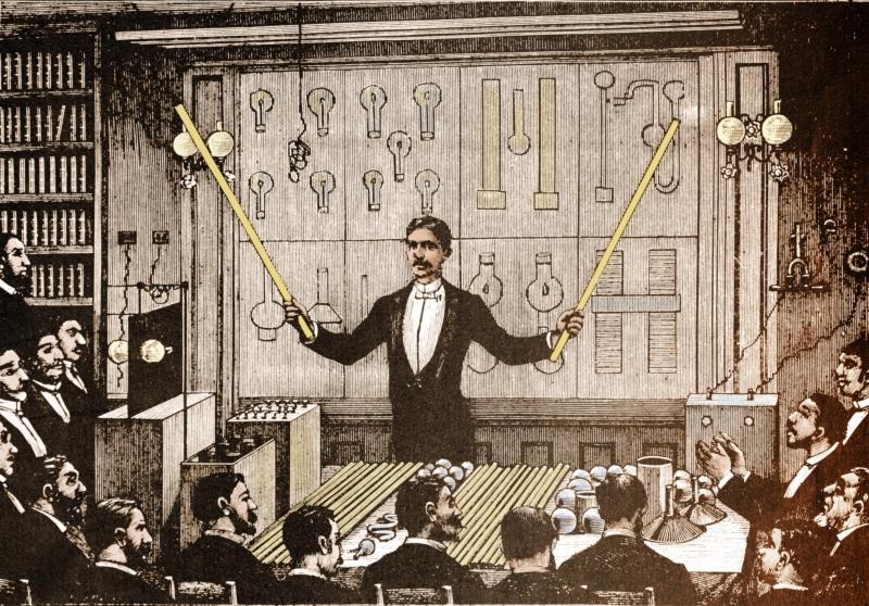 In 1892 reist Tesla naar Europa voor een reeks lezingen over zijn experimenten met wisselstroom. De gravure verbeeldt zijn voordracht voor de Société Française de Physique (SFP) in Parijs.