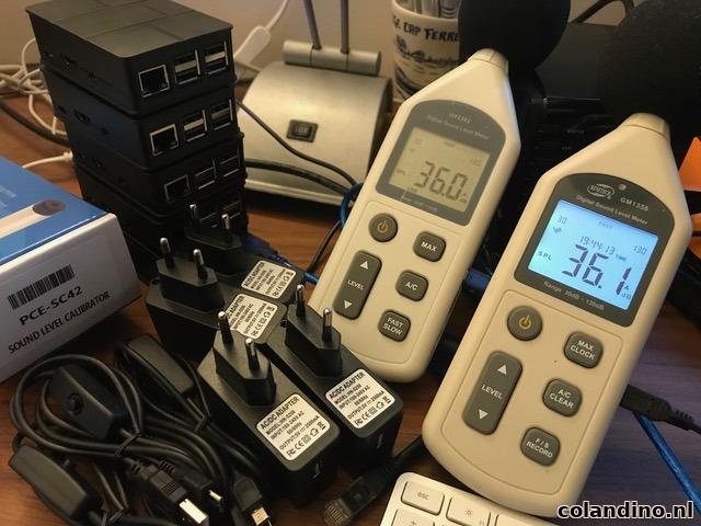 Ontwikkelaar René Kuijf testte een tiental dB-meters voor het continu meten met Explane (foto: René Kuijf)
